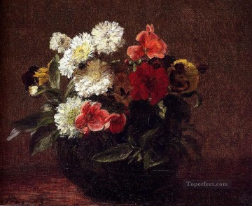 Flowers In A Clay Pot flower painter Henri Fantin Latour Oil Paintings