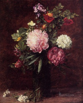 Latour Canvas - Flowers Large Bouquet with Three Peonies flower painter Henri Fantin Latour