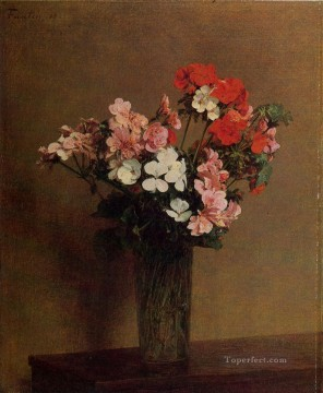Impressionism Flowers Painting - Geraniums flower painter Henri Fantin Latour