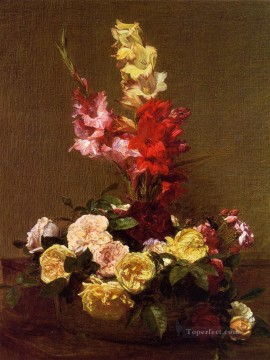 Gladiolas and Roses flower painter Henri Fantin Latour Oil Paintings