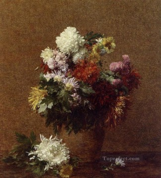 Large Bouquet of Chrysanthemums flower painter Henri Fantin Latour Oil Paintings