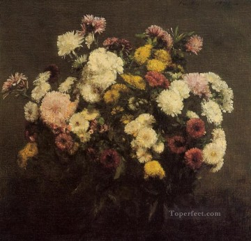 Large Bouquet of Crysanthemums2 flower painter Henri Fantin Latour Oil Paintings