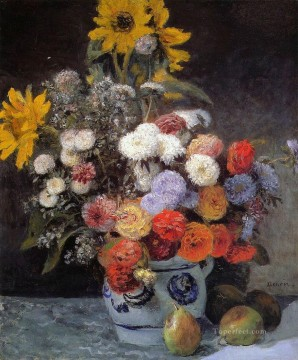 Mixed Flowers In An Earthenware Pot impressionism master Pierre Auguste Renoir Oil Paintings