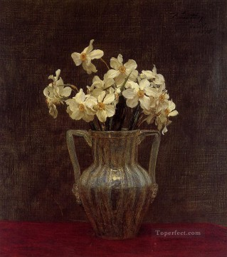 Glass Painting - Narcisses in an Opaline Glass Vase flower painter Henri Fantin Latour