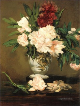 Peonies in a vase Eduard Manet Impressionism Flowers Oil Paintings