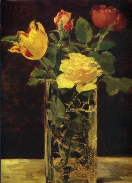 Rose and tulip Eduard Manet Impressionism Flowers Oil Paintings