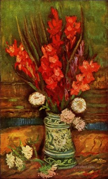 Still LIfe Vase with Red Gladiolas Vincent van Gogh Impressionism Flowers Oil Paintings