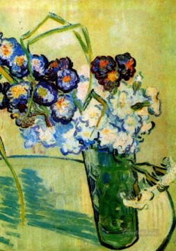 Glass Painting - Still Life Glass with Carnations Vincent van Gogh Impressionism Flowers