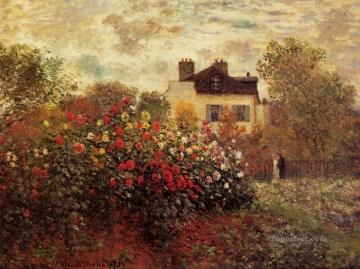 Argenteuil Canvas - The Garden at Argenteuil aka The Dahlias Claude Monet Impressionism Flowers