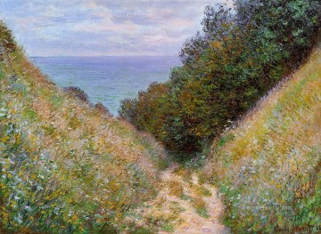 vagabonds resting in a cave Painting - The Path at La Cavee Pourville Claude Monet Impressionism Flowers
