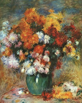 Pierre Works - Vase of Chrysanthemums flower Pierre Auguste Renoir