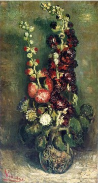 vincent van gogh Painting - Vase of Hollyhocks Vincent van Gogh Impressionism Flowers