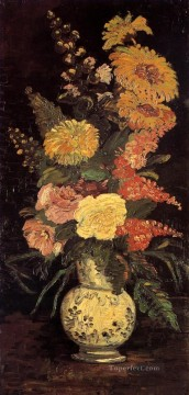 Vase with Asters Salvia and Other Flowers Vincent van Gogh Oil Paintings