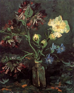 Vase with Myosotis and Peonies Vincent van Gogh Impressionism Flowers Oil Paintings
