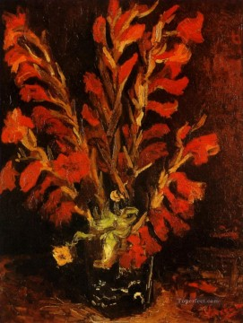 Vase with Red Gladioli Vincent van Gogh Impressionism Flowers Oil Paintings