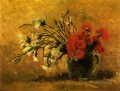 Vase with Red and White Carnations on a Yellow Background Vincent van Gogh Impressionism Flowers