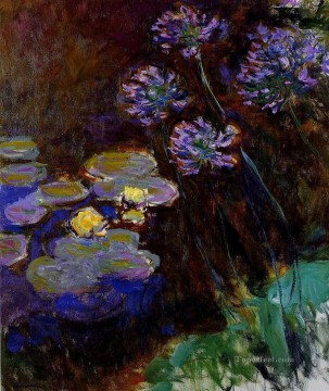 Water Lilies and Agapanthus Claude Monet Impressionism Flowers Oil Paintings