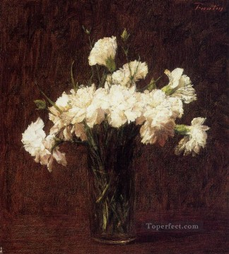 carnations deco art - White Carnations flower painter Henri Fantin Latour