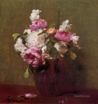 White Peonies and Roses Narcissus flower painter Henri Fantin Latour Oil Paintings