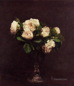 Latour Canvas - White Roses flower painter Henri Fantin Latour