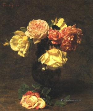 White and Pink Roses flower painter Henri Fantin Latour Oil Paintings