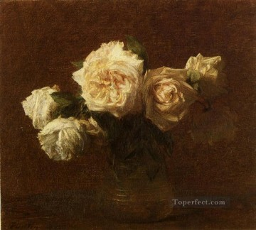 Yellow Pink Roses in a Glass Vase flower painter Henri Fantin Latour Oil Paintings