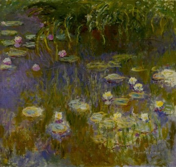 Impressionism Flowers Painting - Yellow and Lilac Water Lilies Claude Monet Impressionism Flowers