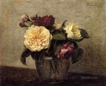 Yellow and Red Roses flower painter Henri Fantin Latour Oil Paintings