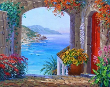 high above amalfi Impressionism Flowers Oil Paintings