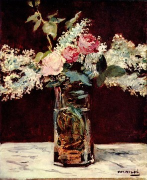 lilac and roses Eduard Manet Impressionism Flowers Oil Paintings