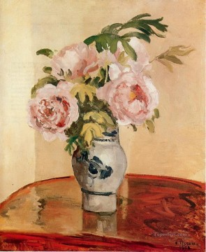 pink peonies 1873 Camille Pissarro Impressionism Flowers Oil Paintings