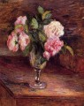 roses in a glass 1877 Camille Pissarro Impressionism Flowers