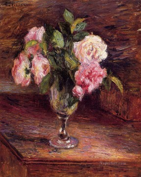 glass Painting - roses in a glass 1877 Camille Pissarro Impressionism Flowers