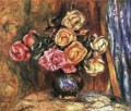 roses in front of a blue curtain flower Pierre Auguste Renoir