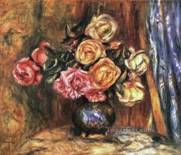 Pierre Works - roses in front of a blue curtain flower Pierre Auguste Renoir
