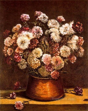 Impressionism Flowers Painting - still life with flowers in copper bowl Giorgio de Chirico Impressionism Flowers