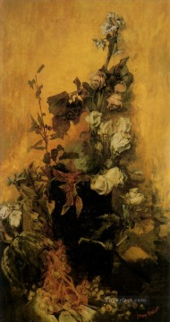 stilleben mit rosen flower Hans Makart Oil Paintings