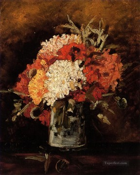 Carnations Art - vase with carnations 2 Vincent van Gogh Impressionism Flowers