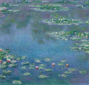 Impressionism Flowers Painting - waterlilies pond blue green Monet Impressionism Flowers