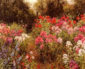 Impressionism Flowers Painting - A Flower Garden landscape Louis Aston Knight