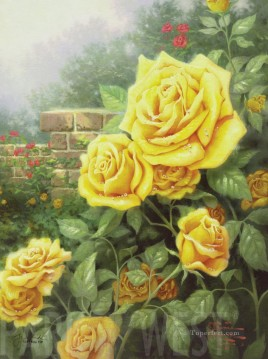 rose roses Painting - A Perfect Yellow Rose Thomas Kinkade Impressionism Flowers
