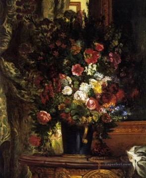 Impressionism Flowers Painting - A Vase of Flowers on a Console Eugene Delacroix