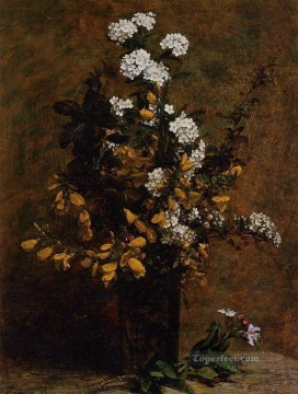 Broom and Other Spring Flowers in a Vase flower painter Henri Fantin Latour Oil Paintings