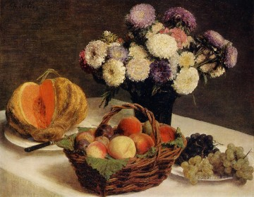 Fruit Painting - Flowers and Fruit a Melon Henri Fantin Latour