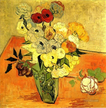 sunflowers vincent Painting - Japanese Vase with Roses and Anemones Vincent van Gogh Impressionism Flowers