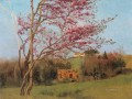 Landscape Blossoming Red Almond Neoclassicist lady John William Godward Impressionism Flowers