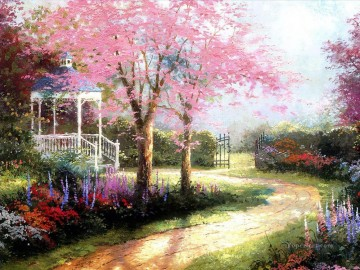 Impressionism Flowers Painting - Morning Dogwood Thomas Kinkade Impressionism Flowers
