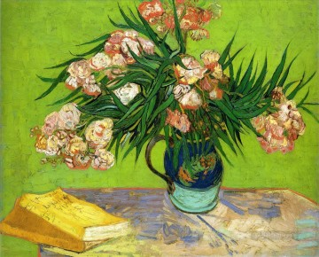 Oleanders and Books Vincent van Gogh Impressionism Flowers Oil Paintings