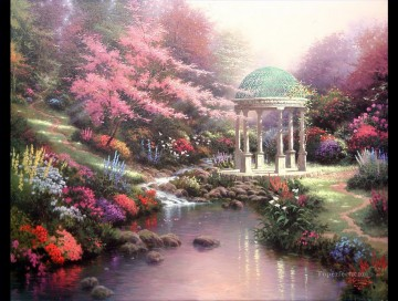 Impressionism Flowers Painting - Pools of Serenity Thomas Kinkade Impressionism Flowers