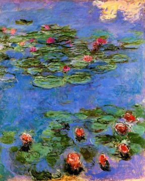 Red Water Lilies Claude Monet Impressionism Flowers Oil Paintings